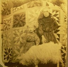 Vintage Photo, with quilt as a background! These photo's are rare! Old Quilts, Antique Quilts, Vintage Quilts, Vintage Sewing, Antique Photos, Vintage Photographs, Vintage Photos, History Of Quilting, Civil War Quilts