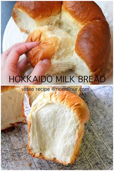 Fool proof Hokkaido milk bread recipe with video. No Tangzhong needed. The bread… Fool proof Hokkaido milk bread recipe with video. No Tangzhong needed. The bread is supper fluffy, moist, soft and tender with wonderful milky flavor. Bread Machine Recipes, Bread Recipes, Baking Recipes, Dessert Recipes, Soft Bread Recipe, Cake Flour Bread Recipe, Roti Recipe, Bread Cake, Desserts