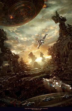 Defend Garth by Ruidan Lv - 28 Amazing Futuristic City illustrations 3d Fantasy, Fantasy Landscape, Fantasy World, Matte Painting, Environment Concept Art, Environment Design, Science Fiction Art, Science Art, Trolls