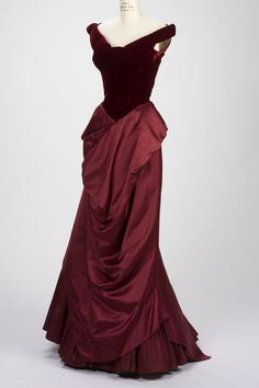 Evening gown by Charles James, British-American designer, 1906-1978. Evening gown, 1955, silk, velvet, satin, and taffeta.