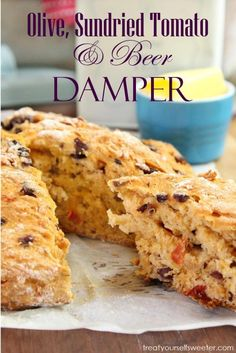Olive Sundried Tomato and Beer Damper; crunchy on the outside and soft and fluffy on the inside. This bread is best straight from the oven with soft butter. Bread Without Yeast, Deli Food, Iron Chef, Beer Bread, Wrap Recipes, Different Recipes, Baked Goods, Real Food Recipes, Snacks