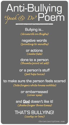 """Anti-Bullying Poem- If kids know what bullying behavior IS they will be less likely to bully themselves and will more often respond appropriately if they witness bullying or are a victim. Change """"god"""" for something else in public school. Stop Bullying, Anti Bullying Lessons, Bullying Facts, Bullying Quotes, Cyber Bullying, Negative Words, Feeling Scared, Bullying Prevention, Verbal Abuse"""
