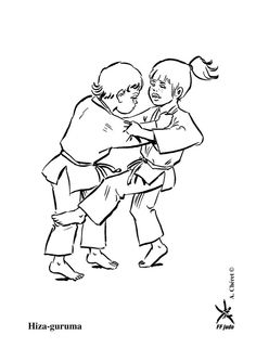 La prise de judo Hiza guruma entre deux athlètes à colorier