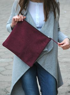 Foldover Suede Leather Clutch, SnakeTextured Leather Purse http://www.etsy.com/transaction/133081645?