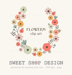 50 Off Sale  Flowers Clip Art Wedding Clip Art by SweetShopDesign