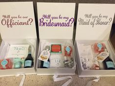 Maid of Honor and Bridesmaid proposal boxes Boxes:  https://www.etsy.com/shop/kismetINK (wording done by me with my cricut) Necklaces:  Maid of Honor: Dogeared Bridesmaids: https://www.etsy.com/shop/PetalandPaperie?ref=l2-shopheader-name Champagne gummies: http://shop.nordstrom.com/s/sugarfina-set-of-6-champagne-bears-candy-cubes/4386423?origin=keywordsearch-personalizedsort&fashioncolor=PINK Wine bottle tags:  http://www.bridalpulse.com/easy-will-you-be-my-bridesmaid-idea-free-printable/