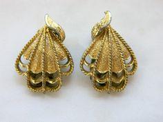 Vintage 50s Coro Fan Earrings, Coro Earrings, 50s Earrings, Mid Century, Signed Coro, Mid Century, Vintage Costume Jewelry, Free Shipping by DecoOwl on Etsy