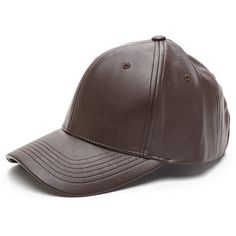 Even Better On Faux Leather Cap BROWN ($15) ❤ liked on Polyvore featuring accessories, hats, brown, brown ball cap, ball caps, adjustable cap, baseball cap and adjustable baseball cap
