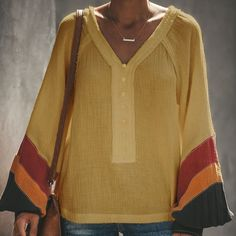 dea9df0194ab0 Casual Contrast Color Bell Sleeve V Neck Loose Blouses