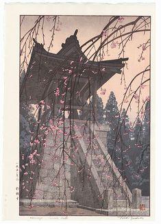 Heirinji Temple Bell, 1951 by Toshi Yoshida (1911 - 1995); Japanese woodblock print...................... ukiyoe japan decoration antique fineart home decor collectible japanese woodblock print handmade home art beautiful decorative etching illustration traditional woodcut spring cherry blossom