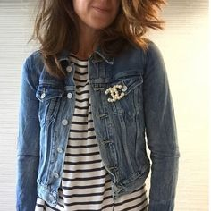 denim jacket + striped tee + pearl Chanel pin