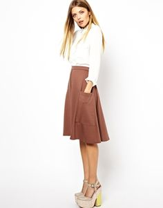 Image 1 of ASOS Midi Skirt in Ponte with Pocket Detail