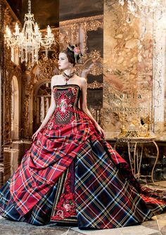 Stella de Libero gown in tartan plaid