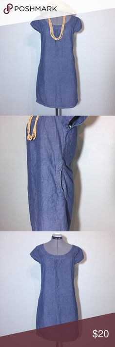 """J. Crew Factory Chambray Shift Dress Great for Summer! J. Crew Factory Chambray Shift Dress. In great condition. Size 2 measures flat: 10"""" across neck, cap sleeve, 18"""" across chest, 17"""" across waist, 20"""" across hips, 34"""" long. Has a hidden back zip and 2 pockets at hips. 100% cotton. 401/FM/051717 J. Crew Factory Dresses"""