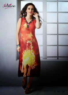 Beautifully Designed Digitally printed Orange Georgette Kurti. Modernized and trendy looking Party wear stuff.