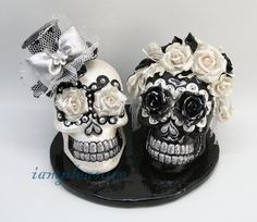 Ahhhhh!! I LOVE IT!!! Skull black & white weddings cake topper handmade Crown of rose bride and groom