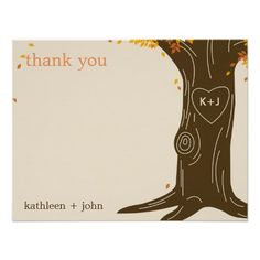 Oak Tree Fall Wedding Thank You Card Personalized Invites