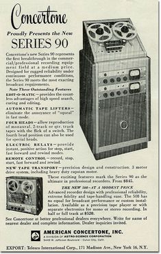 1961 Concertone Series 90 professional reel to reel tape recorder ad in the Phantom productions' vintage recording collection
