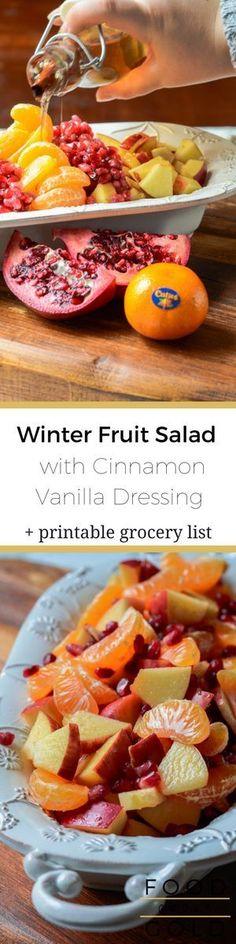 #ad Winter Fruit Salad with Cinnamon Vanilla Dressing via @foodabovegold