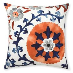 """Outdoor Printed Suzani Pillow, Color: Melon. 22"""" square.  $79  Williams-Sonoma"""
