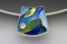 Pendant <br>Enamel, sterling and fine silver, and moonstone <br> One-of-a-kind <br> SOLD