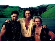 Kevin Smith (Ares), Kevin Sorbo (Hercules), and Michael Hurst (Iolaus) in costume for Hercules: The Legendary Journeys.