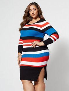 7c82eb6c479 Debbie Striped Sweater Dress at Fashion To Figure. Plus Size Fashion Tips