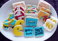 1980s themed cookies for a 40th birthday party