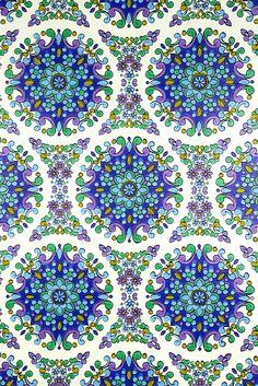 blue geometric vintage 1970s wallpaper