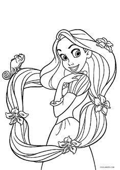 Coloring Pages Disney Princess Rapunzel Printable Free For