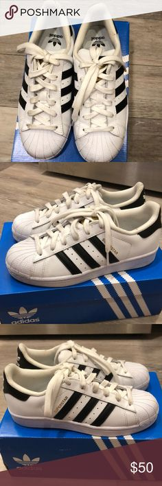 ADDIDAS ORIGINALS SUPERSTAR WHITE W/ BLACK STRIPE Selling gently used Addidas superstars in size 4 childrens which is Womens size 6-6.5. Only worn twice, great condition, few scuff marks but no major blemishes. Selling cause I barely used it, super cute and trendy. addidas Shoes Sneakers