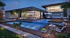 Ever wanted to build your dream mansion and find out which job, that pays well, fits? Backyard Pool Designs, Swimming Pool Designs, Pool Landscaping, Swimming Pools, Villa Design, Modern Garden Design, Modern House Design, Landscape Design, Contemporary Landscape