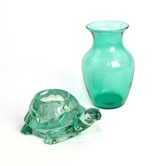 #Vintage #Retro #Aqua #Glass #Turtle #Candle Holder and Blown Glass #Vase #Decor by OneRustyNail on #Etsy