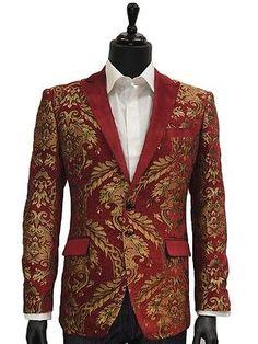 Angelino Mens Red Gold Embroidered Leaf Velvet Tuxedo Dress Trendy Jacket Blazer