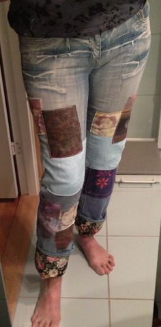 Refashioned jeans, by me.