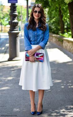 blue denim jacket , white skirt, blue heels, colorful purse. Summer street women fashion @roressclothes closet ideas