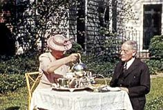May 15, 1942, The Rockefellers taking tea in Bassett Hall's garden
