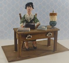 Dorothy Parker Author Miniature Diorama Desk by UneekDollDesigns