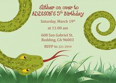 reptile birthday party theme invitation idea
