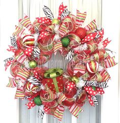 Deco Mesh CHRISTMAS Wreath Red Lime White w Present Ribbon Wreath Whimsical by Southern Charm Wreaths.