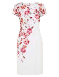 Morpheus Boutique  - White Red Floral Cap Sleeve Pencil Designer Dress