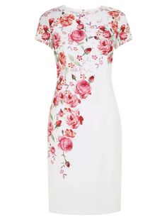 Morpheus Boutique  - White Red Floral Cap Sleeve Pencil Designer Dress