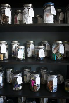 Memory jars from vacations on display.