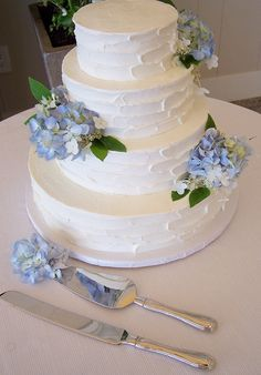 Buttercream and blue Hydrangeas by Kiss Me Cakes at the Wequassett Resort, Harwich, MA.