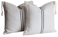 One Kings Lane - California Living - 2-Stripe Grain Sack Pillows, Pair
