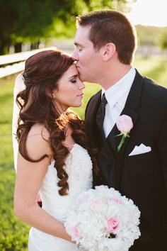 Rustic outdoor spring wedding with DIY bridal bouquet - white hydrangeas and light pink roses. http://www.neverseriousblog.com/the-perfect-day-wedding-recap-part-2/