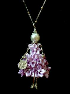 French doll pendant doll necklace lilac dress Ellies's