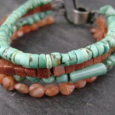 4 Strand semi precious Turquoise Goldstone and by red27jewelry, $84.00