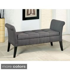 Furniture of America Dohshey Fabric Storage Accent Bench | Overstock.com Shopping - The Best Deals on Benches