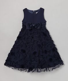 Take a look at this Navy Mary Lou A-Line Dress - Toddler & Girls by Dorissa on #zulily today!